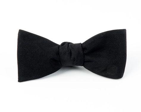 c2d381695125 Black Grosgrain Solid Bow Tie