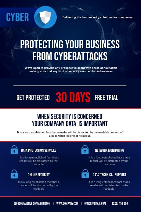 Cyber Security Flyer In 2020 Cyber Template Design Templates