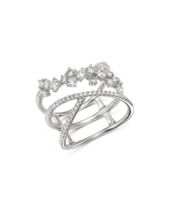 Diamond Scattered Crossover Ring In 14k White Gold 0 80 Ct T W 100 Exclusive Crossover Ring White Gold Exclusive Jewelry