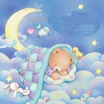 Cresent Cute Moon Sleeping Sweet Dreams Nursery Wall Decor Art Poster Print