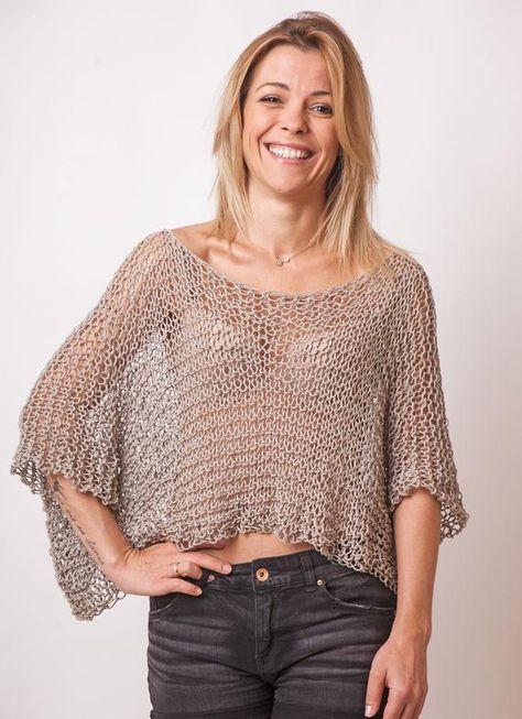 Crop top loose knit cotton merino beige bohemian clothing | Etsy