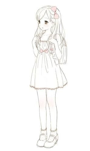 Girl Sketch Full Body Pesquisa Google With Images Kawaii