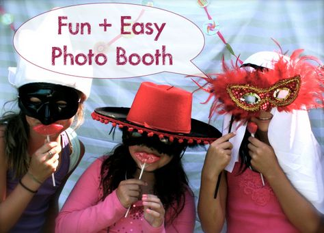My daughter just turned eight. One of the highlights of her party was this easy DIY photo booth. Fun was had by all!