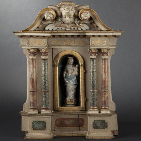 Small wood altar piece, 18th Century