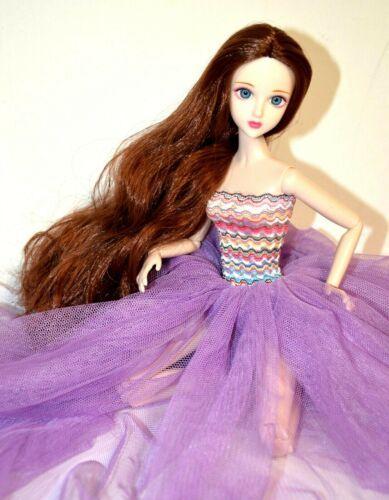 """Eledoll Philomena BJD 12/"""" Poseable Deluxe Fashion Doll in Purple Tulle Dress"""