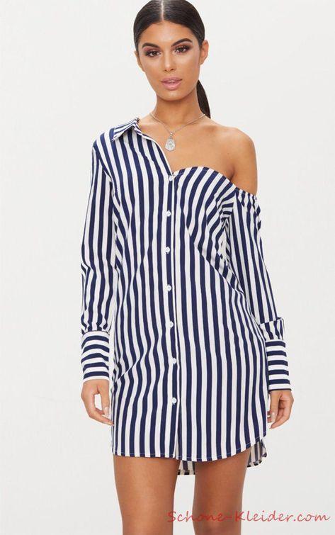 6947c40ef68 Marineblau Gestreiftes Schulter Hemdkleid - Elegante Lässiges Hemdkleid Für  Frühling und Sommer 2019
