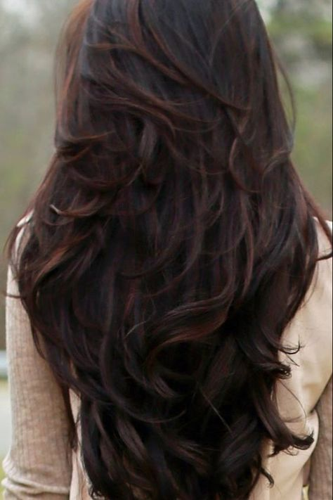 33 Long Layered Hair Style With Bangs Koees Blog Brown Wavy Hair Hair Styles Long Hair Styles