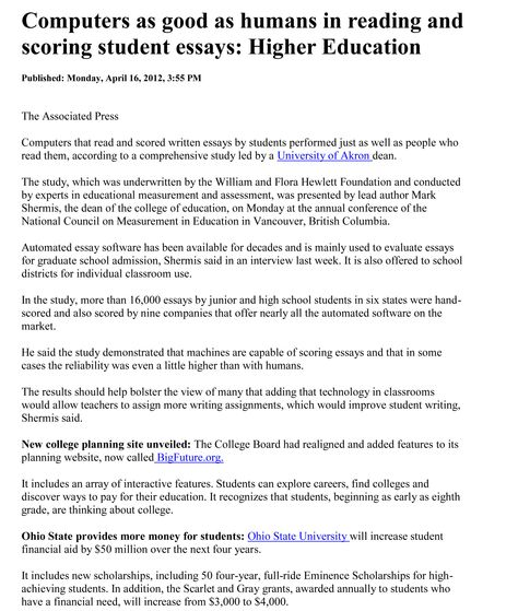 cleveland com computers as good as humans in reading and scoring  cleveland com computers as good as humans in reading and scoring student essays higher education automated essay scoring higher education