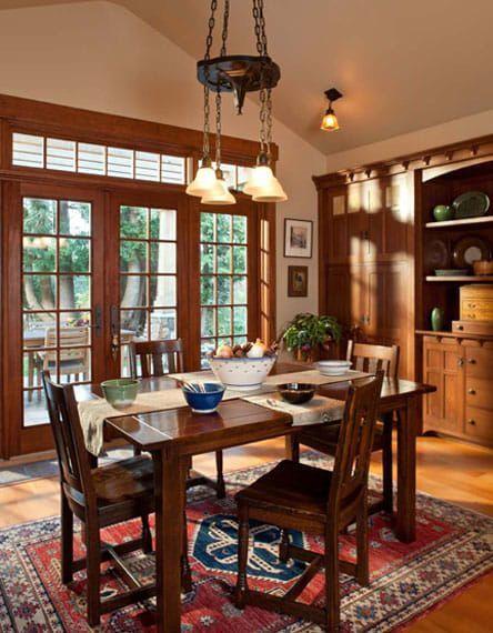 Tiny Cabin To Craftsman Bungalow In 2020 Craftsman Dining Room Craftsman Bungalows Bungalow Interiors