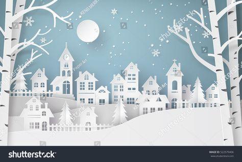 Image vectorielle de stock de Winter Snow Urban Country side Village 522579406