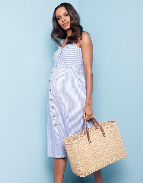 e42d4f418d739 Pinstripe Midi Maternity & Nursing Dress   Seraphine