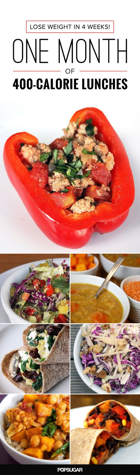 This plan maps out four weeks, Monday through Friday, with each day's meal consisting of 400 calories or fewer. There's a theme for each week to keep your taste buds from getting bored, complete with simple recipes you can whip up the night before.