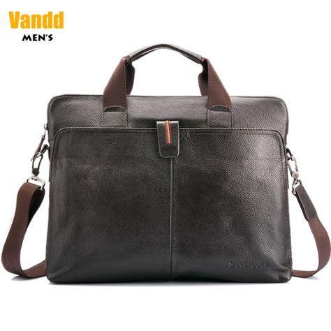"Aliexpress.com : Buy Vandd Men's Genuine Leather Brown Briefcase Tote Handbag 14"" Laptop Shoulder Messsenger Zipper from Reliable computer bag suppliers on Vandd Men. $88.00"