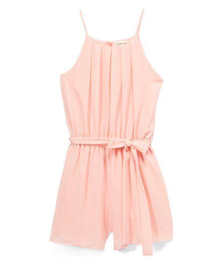 Monteau Girl Solid Blush Tie-Waist Romper - Girls | zulily | Girls rompers,  Rompers, Blush tie