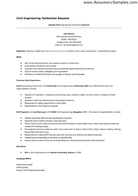 Resume Sample For Civil Engineer Technician  Http