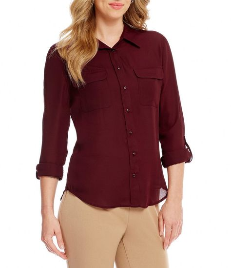 cd31158a164e59 Investments Olivia Long Sleeve Button-Front Roll-Tab Utility Blouse ...