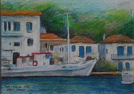 The Greek Island of Poros Original Painting in Frame | Etsy
