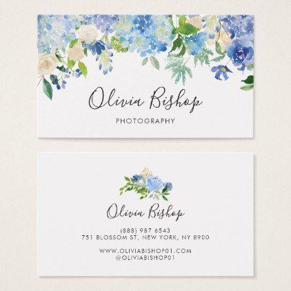 Watercolor Blue Hydrangeas Floral Business Card Zazzle Com Floral Business Cards Business Cards Watercolor Blue Hydrangea