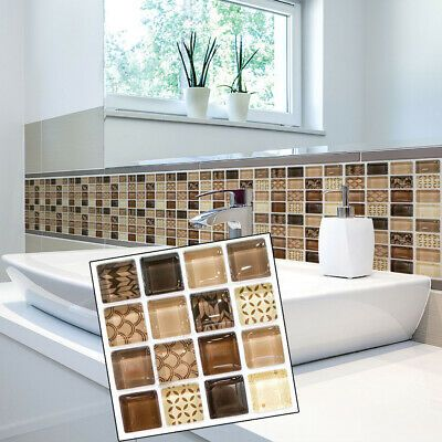 18x Mosaic Self Adhesive Bathroom Kitchen Decor Wall Tile Stickers Set 10x10cm Decals Stickers In 2020 Wall Stickers Tiles Stick On Wall Tiles Mosaic Tile Stickers
