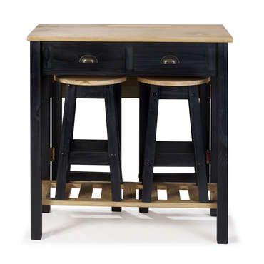 Ensemble Table Pliante 2 Tabourets En Bois Massif Sharona Coloris Noir Conforama En 2020 Tabouret Bois Table Pliante Ensemble Table Et Chaise