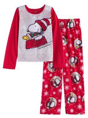 Pants Snoopy Peanuts Girls/' Christmas Santa Cotton Pajamas 2 PIECE Long Sleeve