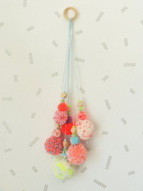 Pompons bouquet wall hanging handmade colorful wall decor