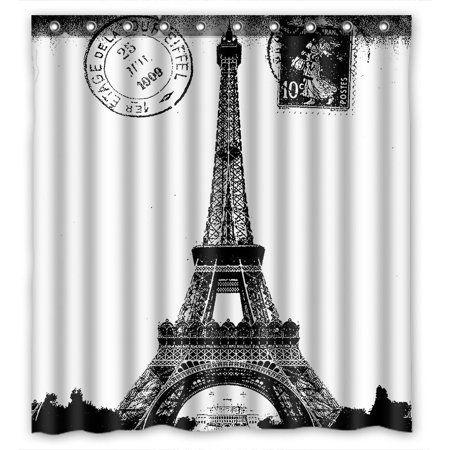 Home In 2020 Fabric Shower Curtains Paris Bathroom Black White