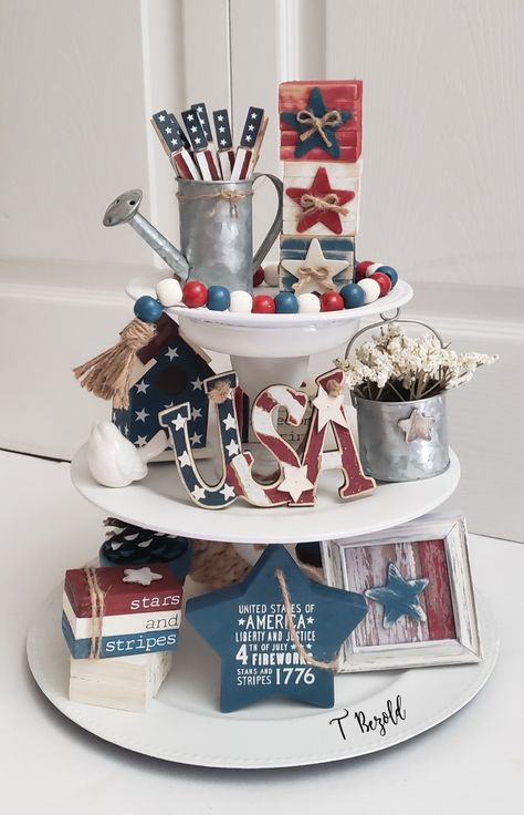 Fourth Of July Decor, 4th Of July Decorations, Valentine Decorations, July 4th, Patriotic Crafts, July Crafts, Summer Crafts, Tiered Stand, And July