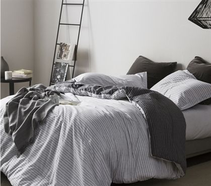 Twin Xl Comforter Static Efx White And Gray College Dorm Room Bedding Static Lines Design With Images Dorm Room Bedding Bed Linens Luxury College Bedding