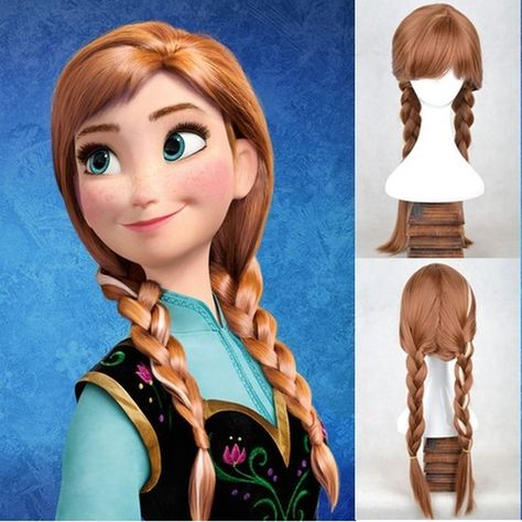 New Disney Princess Frozen Snow Queen Anna Brown Weave Ponytail