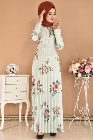 Modamerve Dijital Baski Desen Piliseli Elbise Mint Mrg 12074 Abaya Tarzi Elbise The Dress
