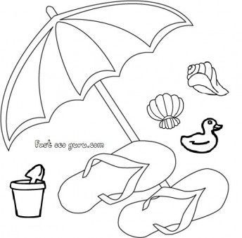 Print Out Beach Slippers And Umbrella Clip Art Beach Coloring Pages Clip Art Summer Drawings