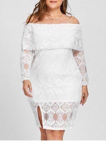 Plus Size Lace Off The Shoulder Flounce Dress Plus Size Lace Dress Lace White Dress Lace Dress