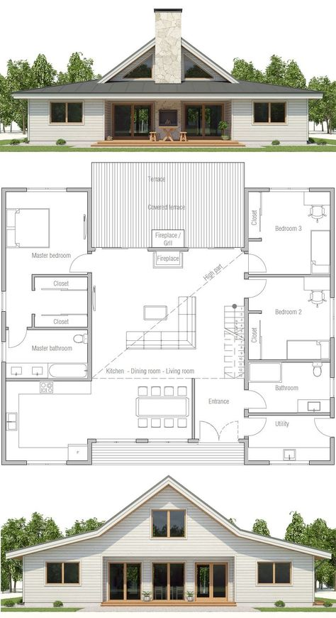 HOUSE PLAN ▪Net area: 1900 sq ft ▪Gross area: 2143 sq ft ▪Bedrooms 3 ▪Bathrooms 2 ▪Floors 1 -this could work for the monitor barn Barn House Plans, New House Plans, Modern House Plans, Small House Plans, House Floor Plans, Open Floor Plans, Pole Barn Homes Plans, House Design Plans, Cheap House Plans