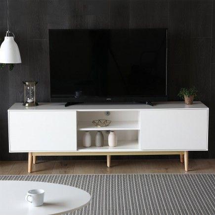 Ivalo Blanc Meuble Tv Blanc Et Bois Naturel Avec Rangements In 2020 Home Apartment Living Living Room