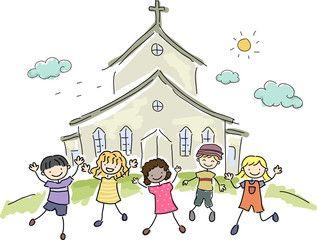 Stickman Church Kids Kids Church Black And White Illustration Clip Art