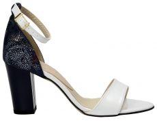 Bialo Granatowe Sandaly Damskie Wojtowicz Heels Shoes Fashion