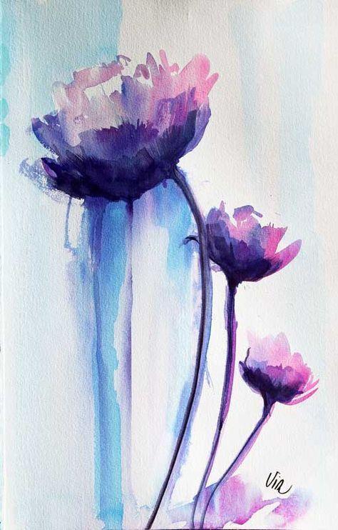 Fleur Trio Aquarelle Virginie Schroeder Watercolorarts Flower