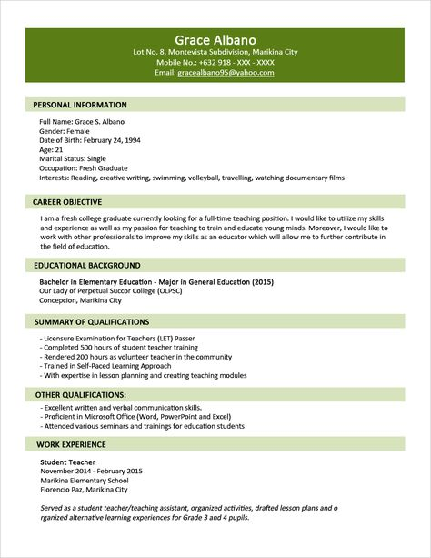 interview resume format