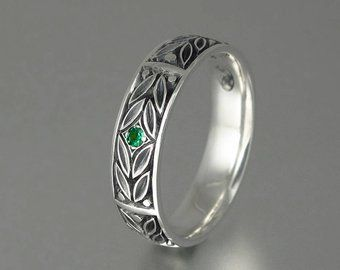 The Secret Silver Mens Wedding Band With Emerald Etsy In 2020 Mens Silver Wedding Bands Mens Wedding Bands Emerald Wedding Band
