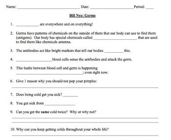 Bill Nye Germs Video Worksheet Immune System With Images