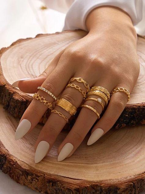 11pcs Rhinestone Engraved Chain Design Ring | SHEIN USA