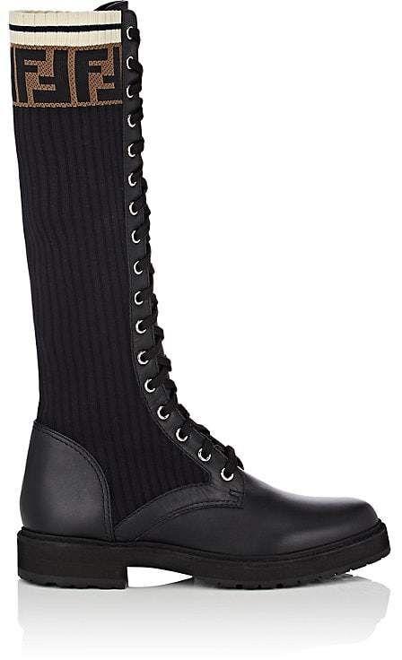 Fendi Women's Leather \u0026 Knit Combat