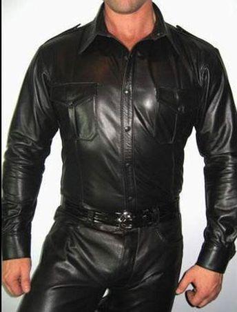Mens Police Shirt LEATHER Uniform Genuine Real Black sheep lamb