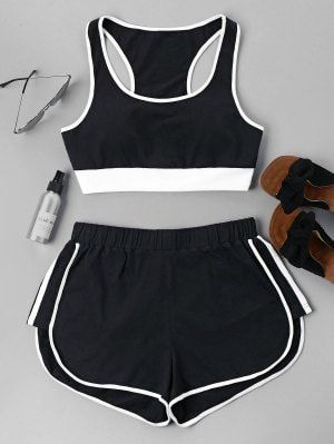 8d07ceec Contrast Sleeveless Shorts Set - Black Xl | zaful | Outfits, Pajama ...