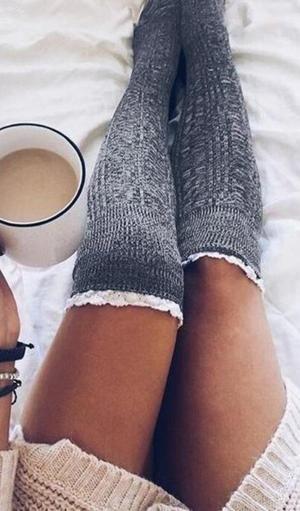 Damen Strick Warm Kniestrümpfe Overknees Winter Beinwärmer Lang Socken Stockings