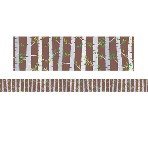 """Use this simple Birch Trees border to bring a natural feel to your bulletin boards and displays. This birch tree forest with wispy green leaves will give outdoor inspiration inside your classroom. This border is great for seasonal decorating and a variety of bulletin board themes (science, plants, trees, nature, forests, camping, etc.). Measures 3"""" wide. Each pack includes 35 feet of border. Border Idea: Add style and pops of color to any bulletin board by mixing, matching and layering our solid"""