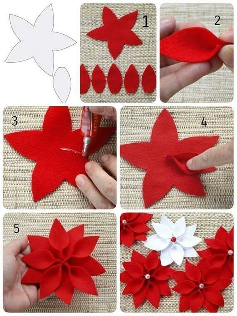 Christmas star The Effective Pictures We Offer You About DIY Fabric Flowers pattern A quality picture can tell you many things. You can find the most beautiful pictures that can be presented to you ab Felt Christmas Decorations, Felt Christmas Ornaments, Christmas Star, Simple Christmas, Handmade Christmas, Christmas Wreaths, Christmas Poinsettia, Crochet Ornaments, Crochet Snowflakes