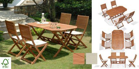 Salon De Jardin Bois Primero : Table Octogonale + 4 Chaises ...