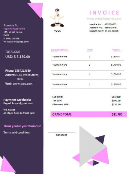 Yoga Invoice Template 5 Templates For Yoga Teaching Coaching Services Template Sumo In 2021 Invoice Template Templates Templates Free Design